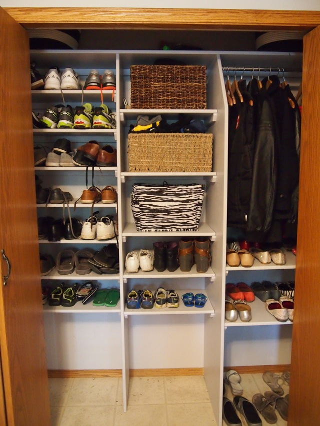 Lots of shelves for shoes and a very small area for coats since we keep our coats in our lockers on the hooks